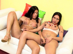 Two Brazilian Shemale TS Fuck each other to Cum on Tits