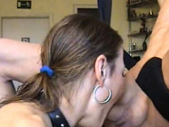Kinky bondage MILF gags and spits giving deepthroat
