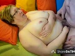 homemade grandpa puts his load between grandma's tits