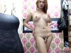Shemale wanking cock on webcam