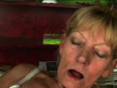 GILF masturbating while deep throating