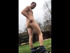 A big load after a striptease outside