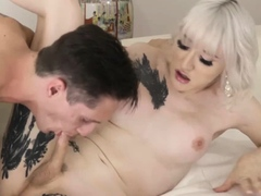 Athletic blonde tbabe Lena Kelly swallows stepbros hard dick