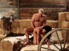 Amateur couple making their first porn scene in a barn