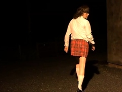 sissy schoolgirl cathy goes outside