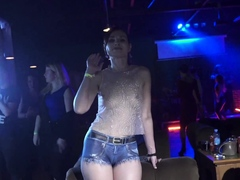 Jeny Smith bottomless in the club. Painted shorts