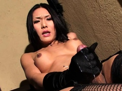 Stockings shemale tranny cock fills studs mouth