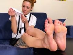 Redhead schoolgirl stinky socks and feet for you to taste