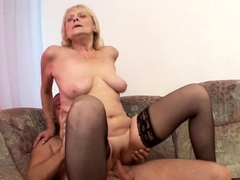 Grand Son Seduce old Saggy Tits Granny to Tabu Fuck