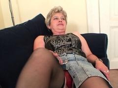 Cock-hungry granny enjoys double penetration