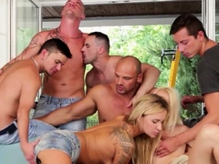 Two blonde hotties in group action with bisex men