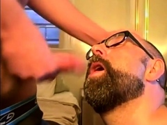 Bearded guy takes two loads to the face from his buddy
