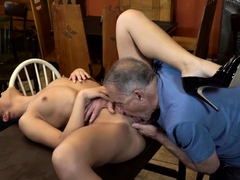 DADDY4K. Nymph with long hair rides old cock belonging