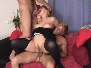 Sexy old lady enjoys riding and sucking at same time
