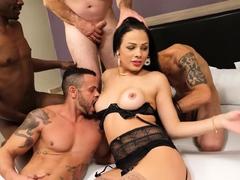 Latina tranny fucked by a group of guys