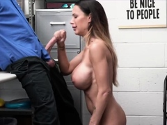 Mature thief gets on her knees after getting busted