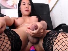 Big Dick Busty Shemale Masturbating