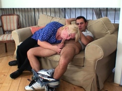 Busty blonde mature pleases young stranger