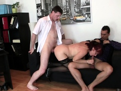 Two men please hot redhead mature office boss