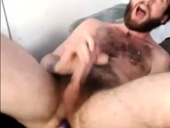 Bearded Hunk Plays with Vibrator Until He Cums
