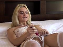 Naughty Blonde Masturbates With Toothbrush And Deep Throats