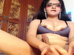 Attractive Shemale Jerking her cock