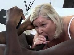 Big tit granny stroking