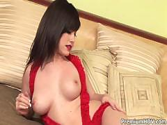 Busty In Red Teasing On Bed